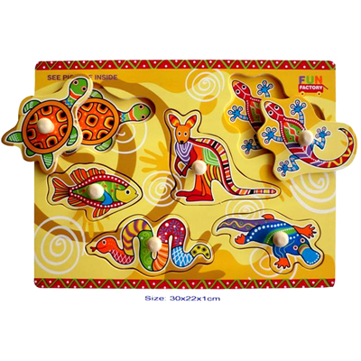 AUSTRALIAN ANIMALS ABORIGINAL Theme Wooden KNOB Puzzle.