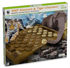 WWF Elephant and Tiger Checkers - Wooden