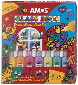 AMOS Glass Deco 13 colour Window Paint Kit