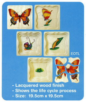Five Layer Butterfly Cycle Wooden Puzzle
