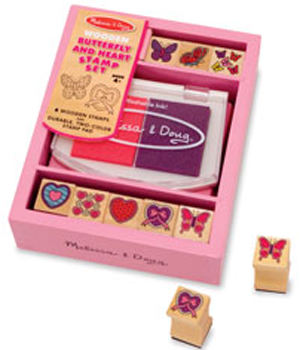 Wooden Butterfly and Hearts Stamps Set