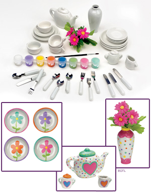 Deluxe Paint-Yor-Own Tea Party Set