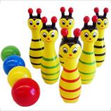 Wooden Bee Bowling Pin Set