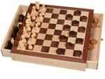 Chess and Checkers Set with Drawers - Wooden