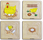 Four Layer Egg to Chicken Wooden Puzzle