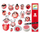 Djeco Funny Faces Stamp and Draw Set