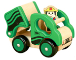 Wooden Dump Truck with Driver