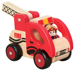 Wooden Fire Engine with Driver