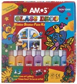 AMOS Glass Deco 13 colour Window Paint Kit