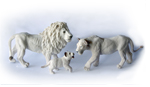 Papo White Lion Family Group