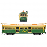 ELECTRIC 1:76 Scale OO Gauge W6 Class Melbourne Tram - Green Rattler The Met # 975 Diecast Model